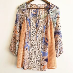 Meadow Rue | Anthro boho embroidered peasant top M
